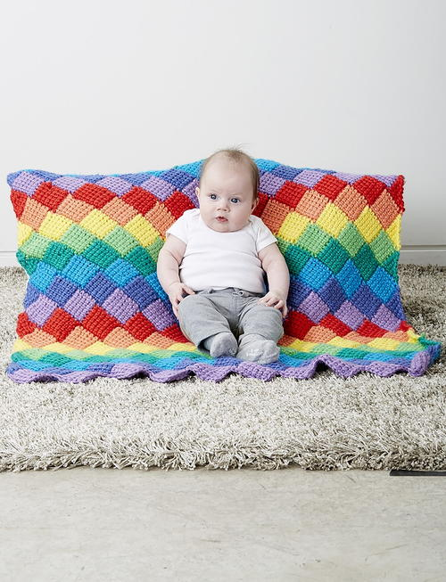 Rainbow Tunisian Crochet Baby Blanket Pattern