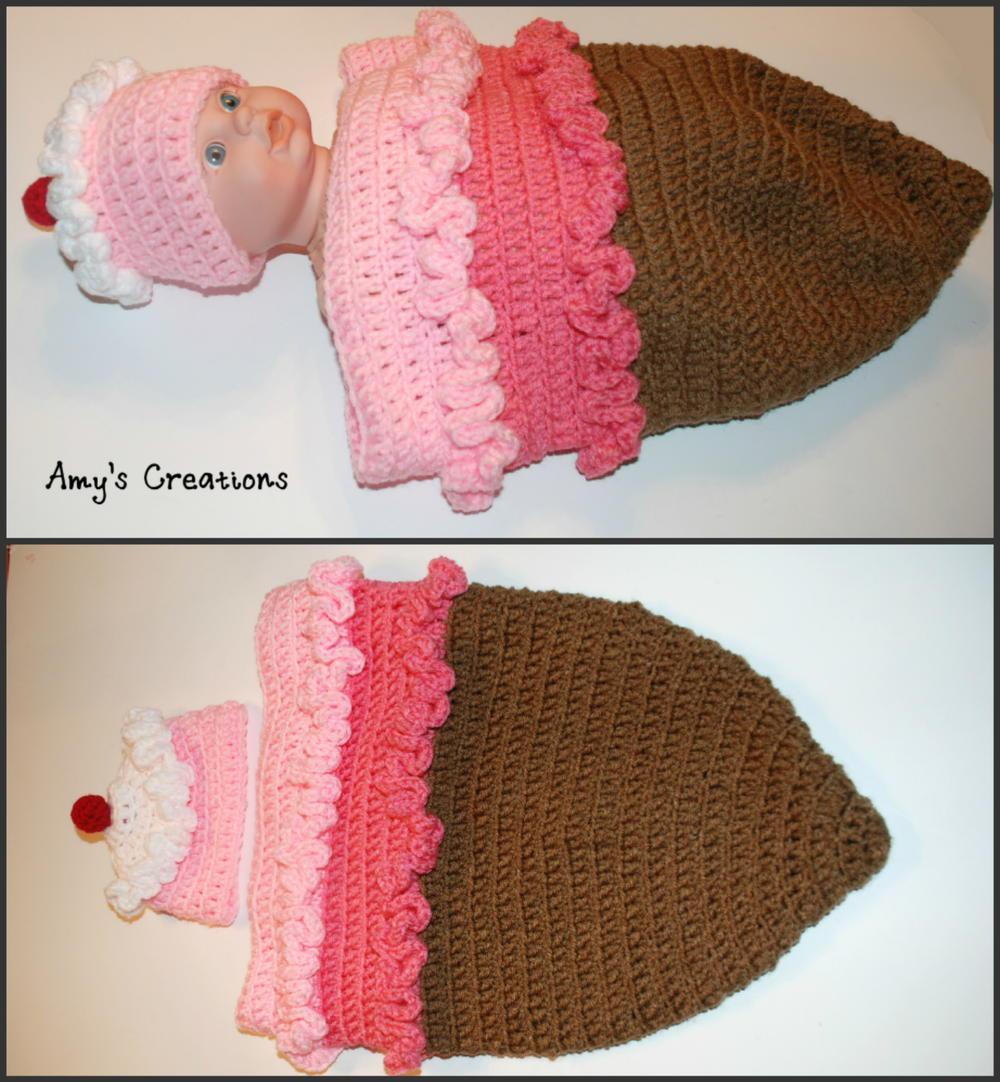 Crochet Ice Cream Cone Cocoon and Hat | AllFreeCrochet.com