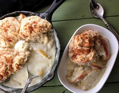Apple Cider Cobbler with Spiced Pumpkin Biscuits