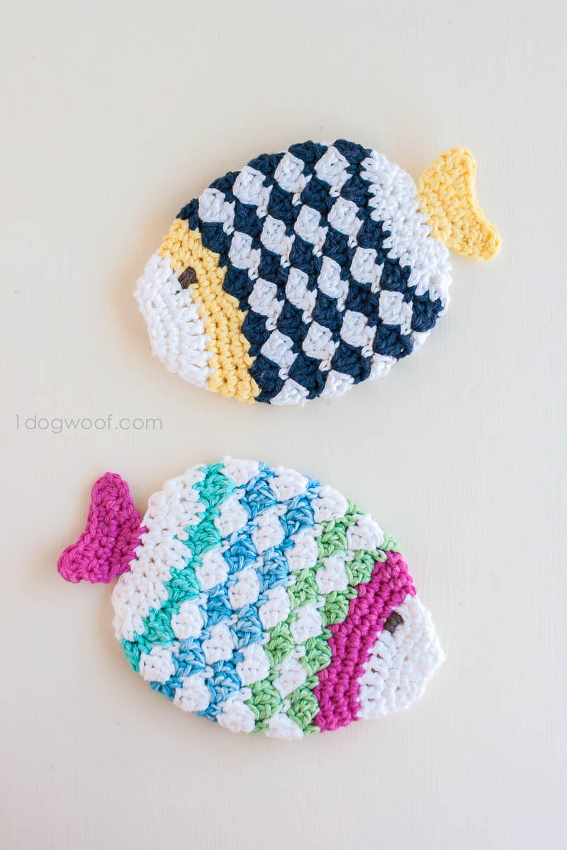 Fish Scrubbie Crochet Washcloths | AllFreeCrochet.com