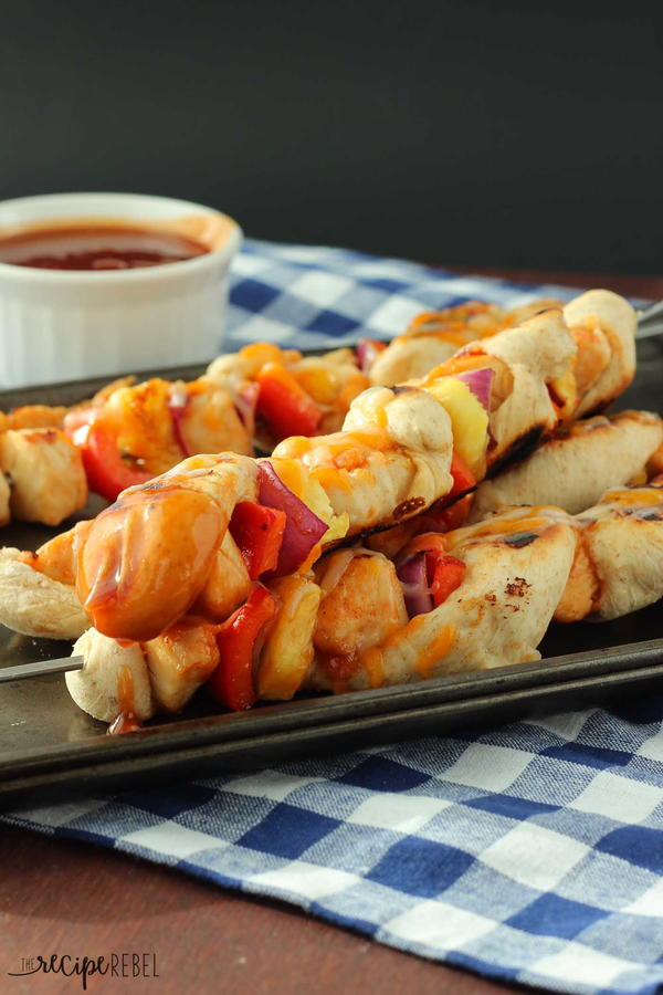 Grilled BBQ Chicken Pizza Skewers