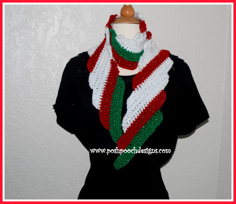 Free Crochet Patterns For Christmas Scarves : Candy Cane Christmas Crochet Scarf AllFreeCrochet.com