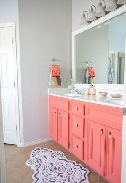 Coral Painted DIY Bathroom Vanity