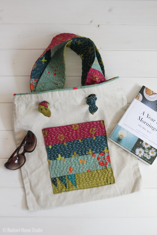 Kantha inspired tote bag tutorial allfreesewing