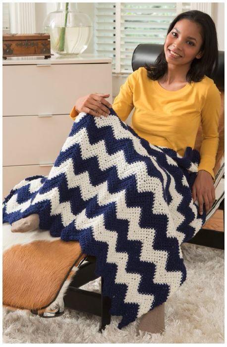 Comfy Chevron Crochet Blanket Allfreecrochet