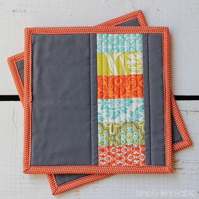 Modern Quilted Potholder | AllFreeSewing.com : quilted hot pad patterns free - Adamdwight.com