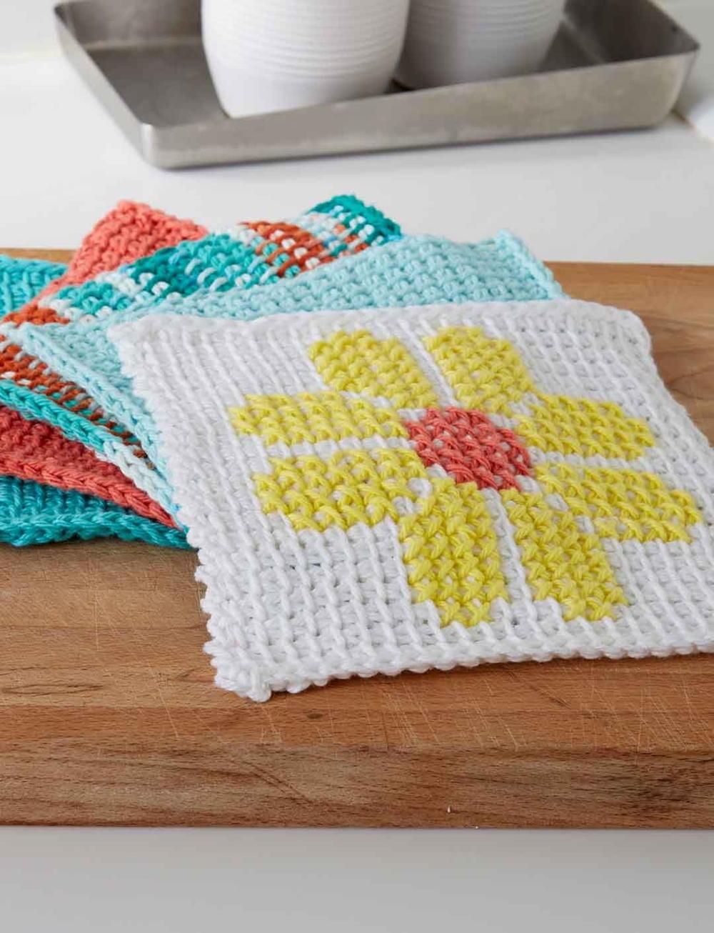 Tunisian Crochet Flower Dishcloth   AllFreeCrochet.com