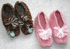 Knitting Easy Slippers : Grandma s simple knit slippers allfreeknitting