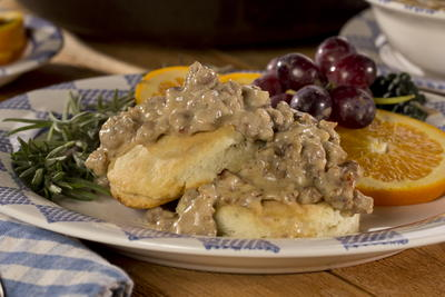 Rosemary Biscuits and Country Gravy