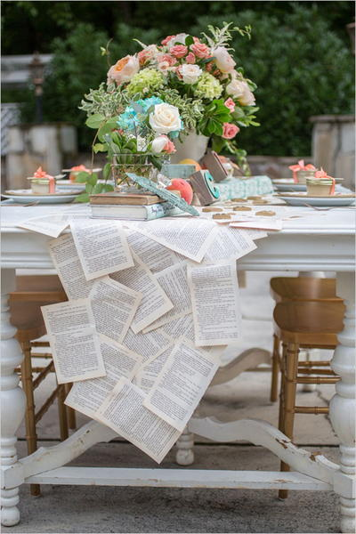 Antique Book Page Table Runner