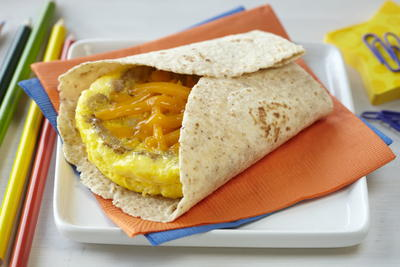 Eggs Sausage and Cheddar Breakfast Tortilla