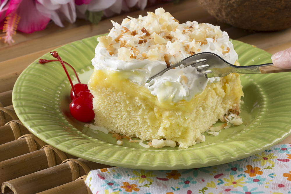 recipe for hawaiian wedding cake with whipped cream cheese frosting hawaiian poke cake mrfood 19023