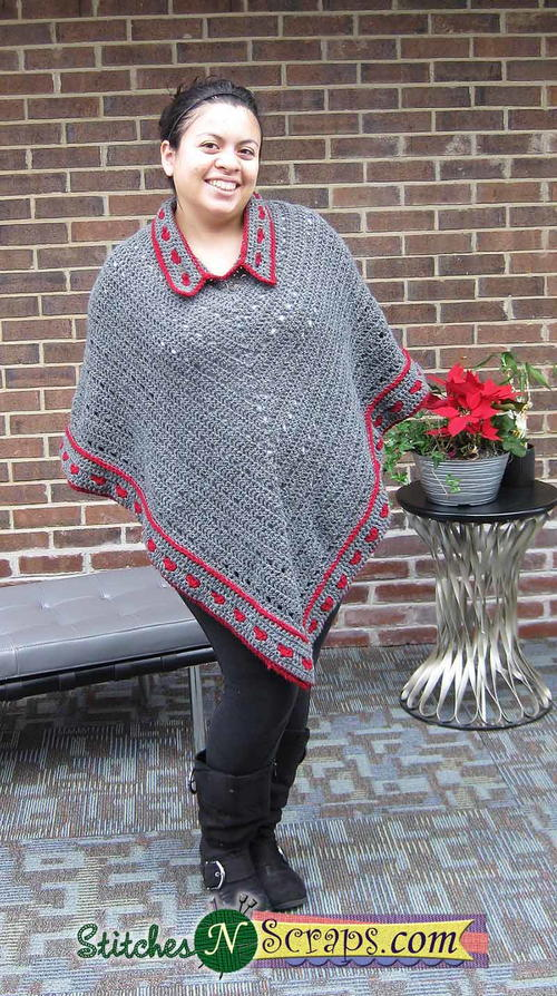 Collared Crochet Poncho