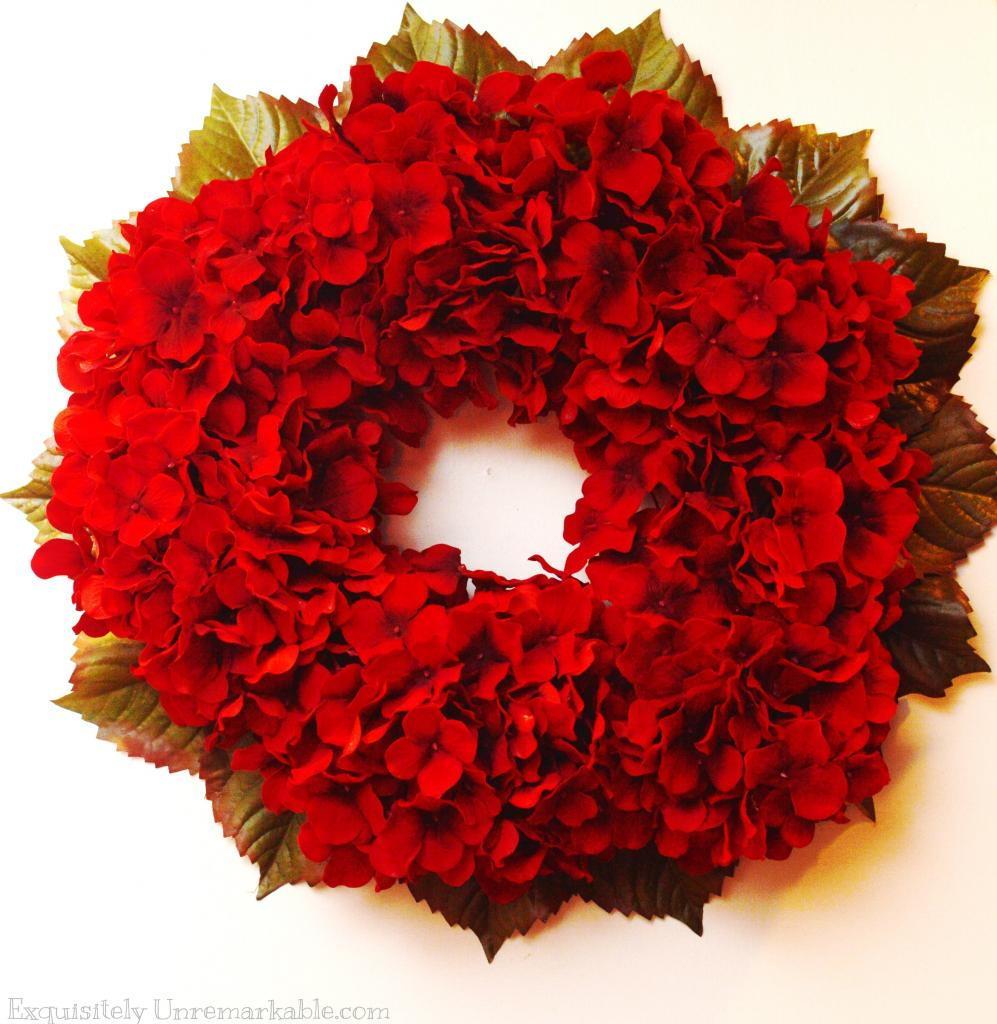 Red Hydrangea Christmas Wreath