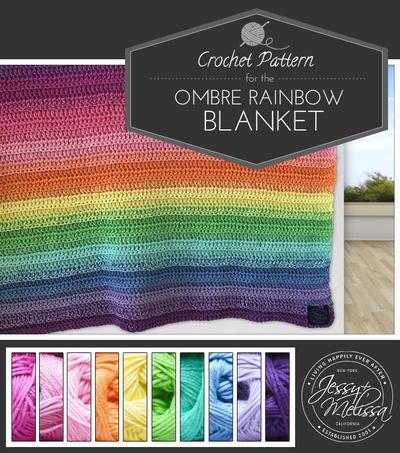 Ombre Rainbow Crochet Blanket