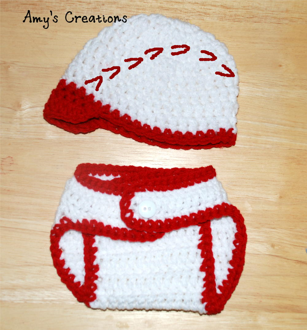 Crochet Baseball Hat & Diaper Cover | AllFreeCrochet.com