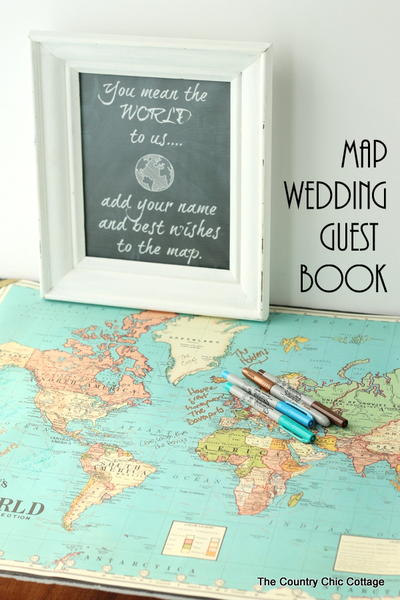 DIY Map Wedding Guest Book