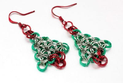 christmas style earrings dangle drop hoop happy tree colorful dp