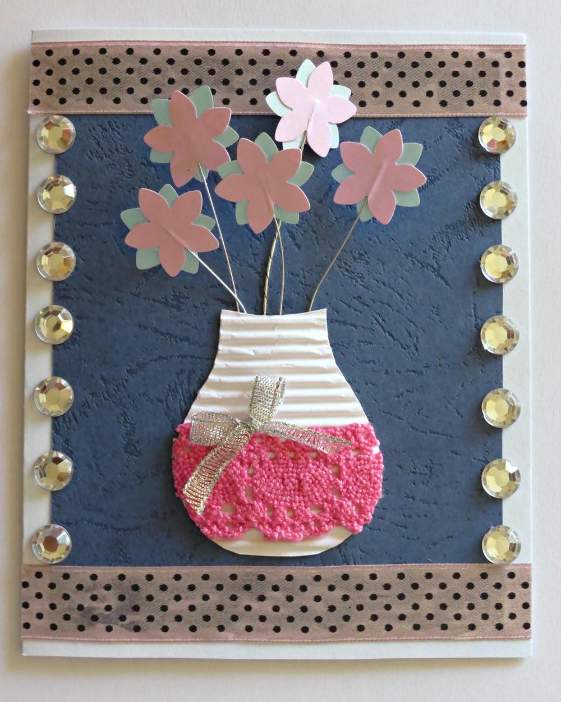 Paper flower making for greeting cards selol ink 3d flower vase birthday card allfreepapercrafts com m4hsunfo