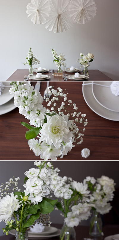 DIY White Wedding Flower Arrangements