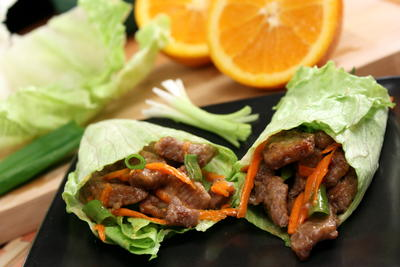 Orange Beef Lettuce Wraps