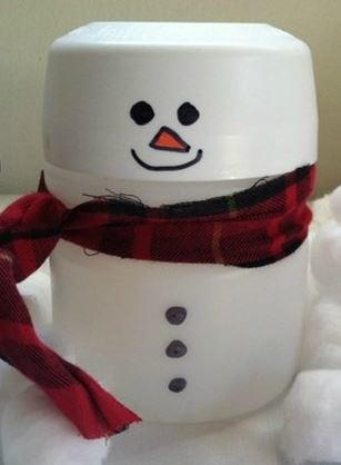 Upcycled Kool-Aid Container Snowman