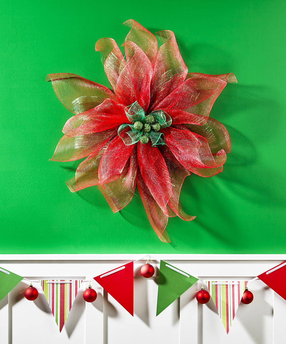 Decorative Mesh Poinsettia Flower Favecrafts Com