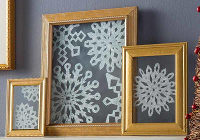 DIY Framed Snowflakes