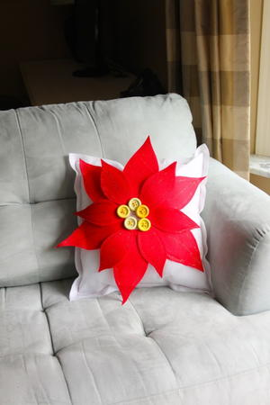 Bold Red Poinsettia Pillow