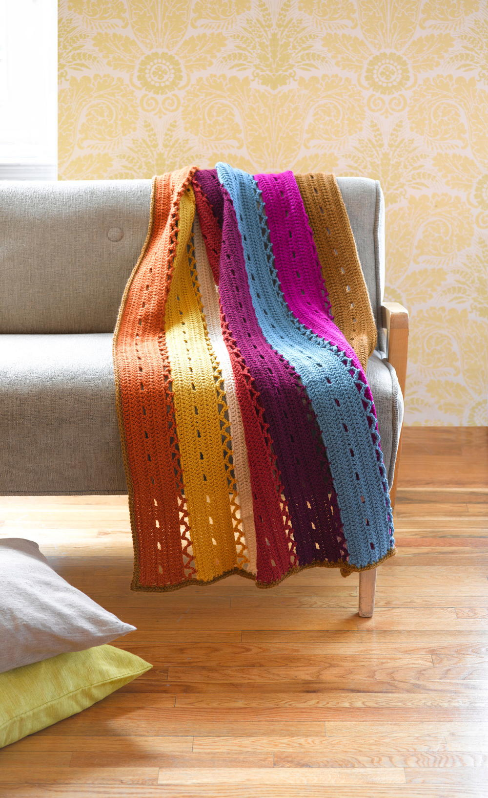 Red Lion Yarn Free Crochet Patterns : Colorful Windchime Afghan FaveCrafts.com