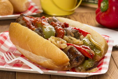 Sausage, Pepper, and Onion Sandwich | MrFood.com