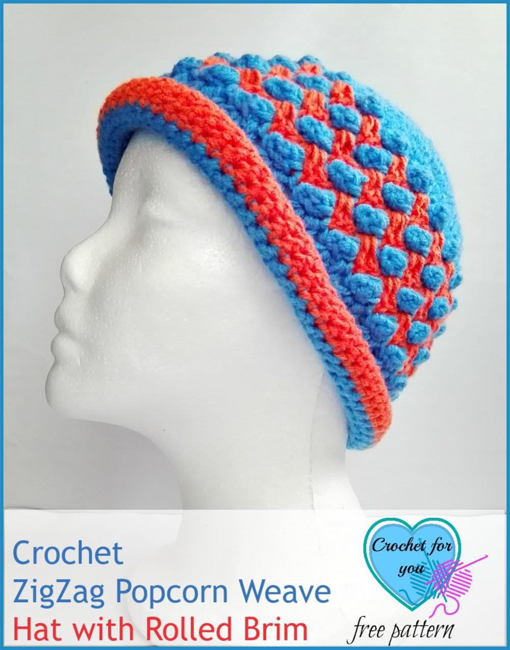 Free Crochet Zig Zag Hat Pattern : Zig Zag Popcorn Weave Crochet Hat Pattern FaveCrafts.com
