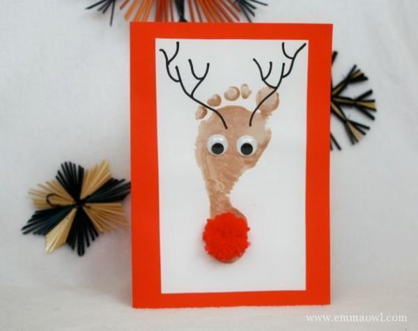 footprint reindeer homemade christmas card favecraftscom - Homemade Christmas Cards
