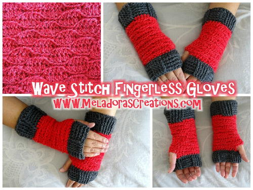 Wave Stitch Crochet Fingerless Gloves Allfreecrochet