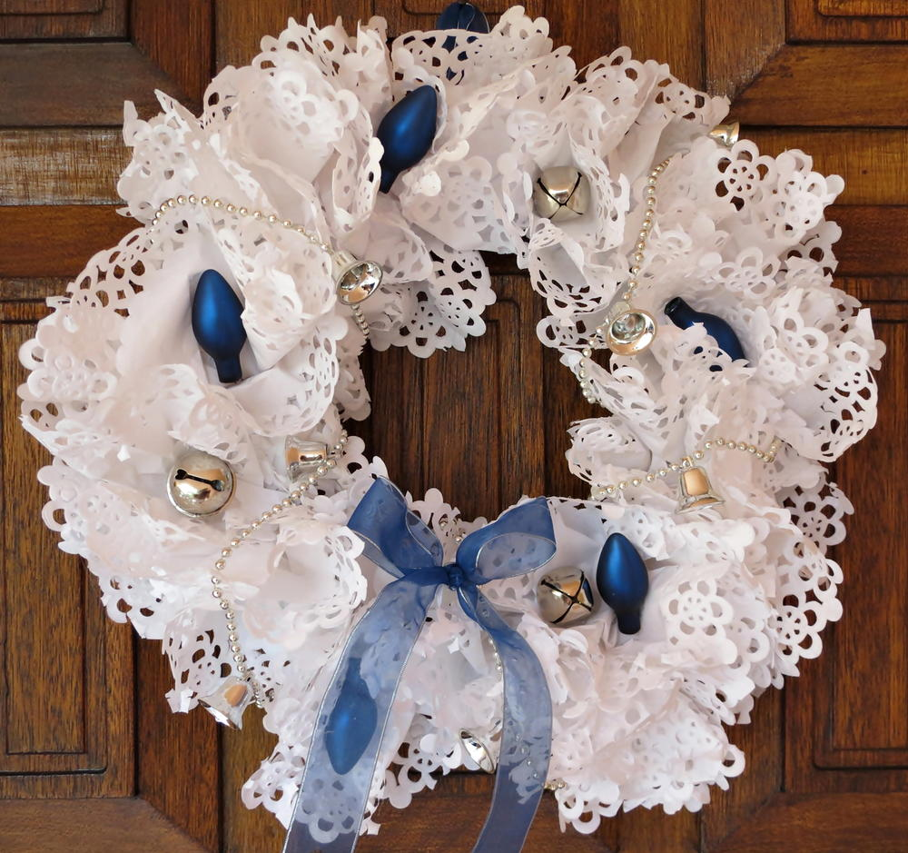 Blue And White Paper Doily Wreath Favecrafts