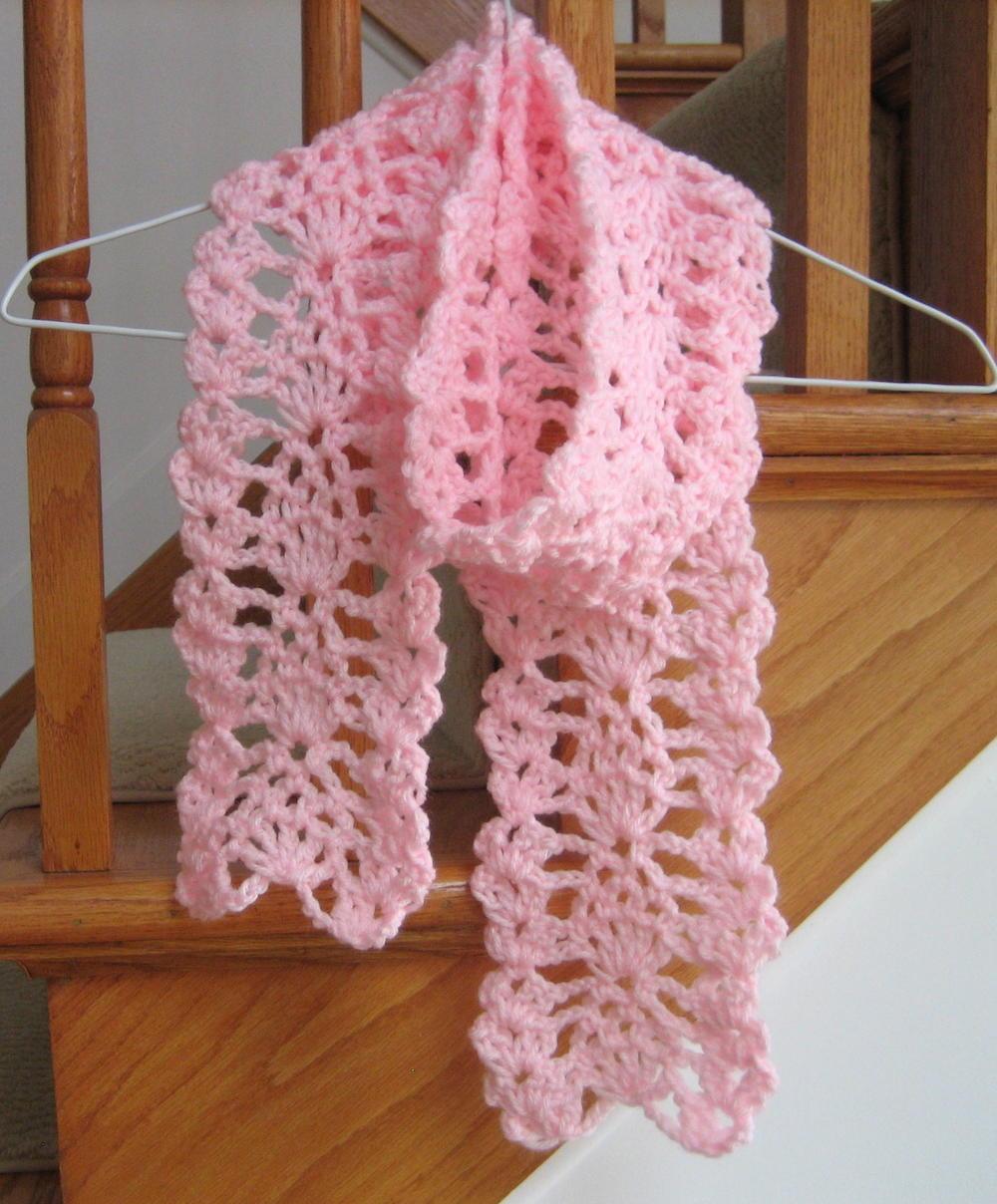 Easy Lacy Crochet Shawl Pattern : Lacy Pineapple Crochet Scarf AllFreeCrochet.com
