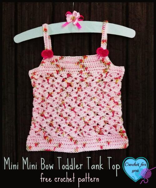 Mini Bow Toddler Tank Top Allfreecrochet
