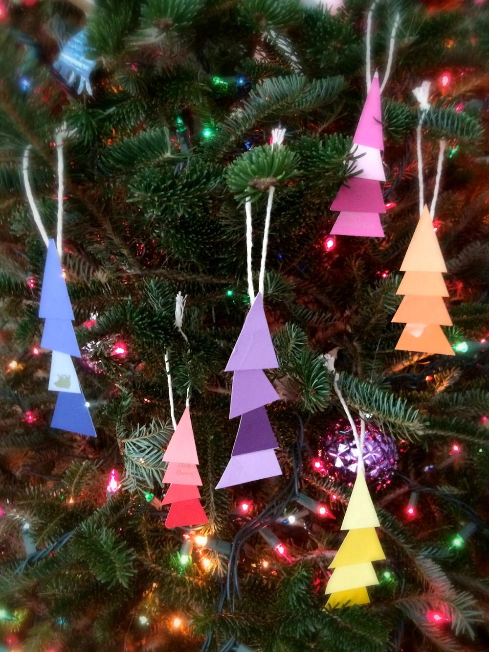 Paint Chip Christmas Tree Ornaments | AllFreeKidsCrafts.com