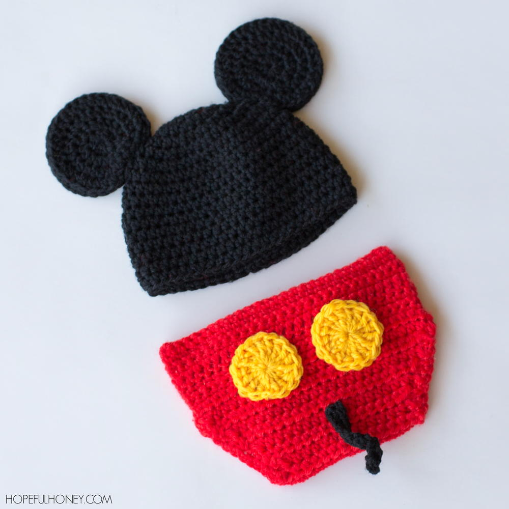 Free Crochet Pattern For Mickey Mouse Shoes : Mickey Mouse Inspired Hat & Diaper Cover AllFreeCrochet.com