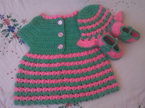 Striped Baby Dress | AllFreeCrochet.com