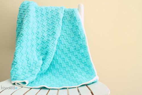 Blue Basket Weave Crochet Baby Blanket ...