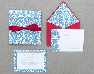 Seagull Damask Printable Invitation Suite