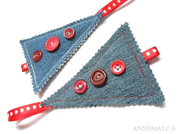 Recycled Denim Christmas Ornaments