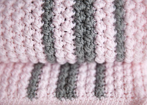 Bobbles And Stripes Crochet Baby Blanket Pattern