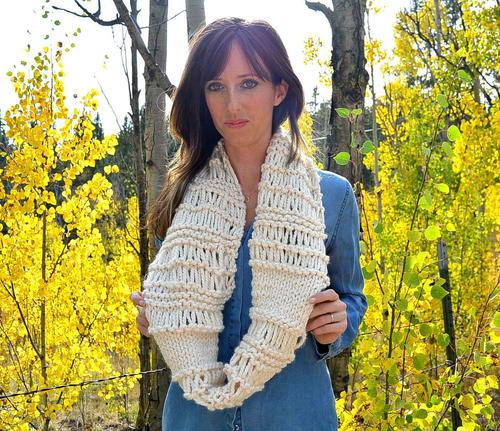 Cozy Weekend Infinity Knit Scarf Pattern Favecrafts