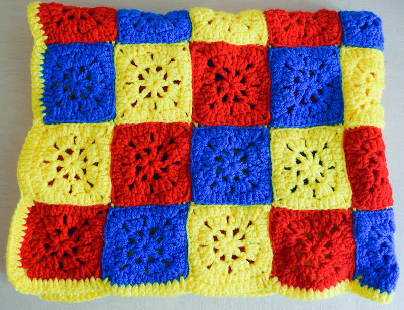 Checkerboard Knitting Pattern Blanket : Checkerboard Primary Colors Crochet Blanket Pattern ...