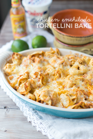 Easy Chicken Enchilada Tortellini Bake