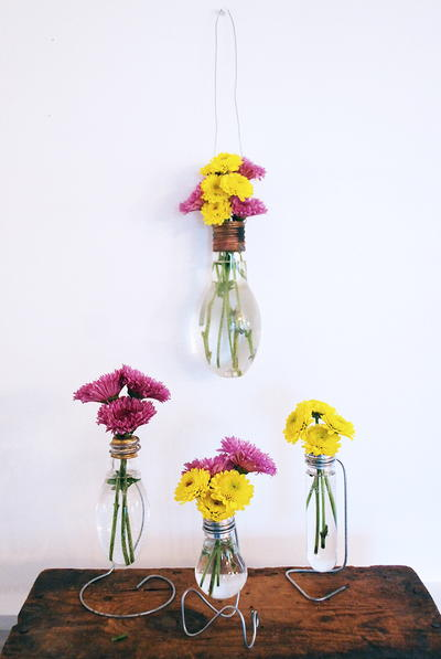 Trendy Upcycled Light Bulb Vase