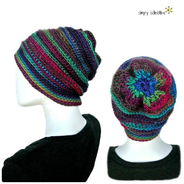 Whimsical Floral Crochet Slouchy Hat