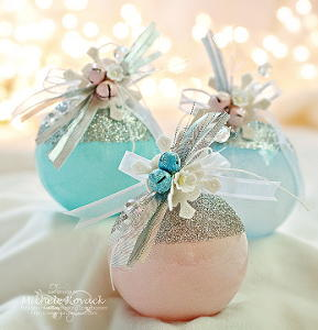 glitter topped christmas ornaments